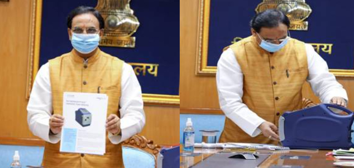 Union Education Minister Shri Ramesh Pokhriyal Nishank launches NanoSniffer a Microsensor based Explosive Trace Detector